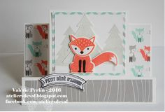 handmade baby card from The Val Workshops ... little fox ... step card with center panel ... Stampin' Up!