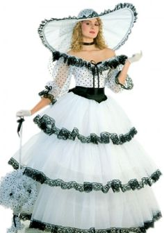 Super Deluxe White Southern Belle Costume Civil War Costumes [Note the description: Costume...as in Costume Party]