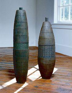 Debra Sachs | wood, paper twine, mixed polymers, copper wire.   http://www.debrasachs.com/browngrotta/BabyWirePod.htm