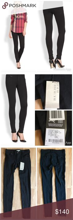 """NWT Burberry Brit Westbourne Ankle Pant XS $235 NWT Burberry Brit Westbourne Skinny Ankle Pants Small $235. Sold out! Super flattering   The foundation to every top and jacket this season: body-hugging jeans with crisp back seams. Banded waist with belt loops. Metal loop trim on one belt loop. Zip fly with button closure. Five-pocket style with coin pocket. Rivet trim. Stitched-detail back pockets, one with logo. Center-back seam detail. Inseam, about 29"""" Rise, about 9""""…"""