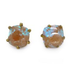 Vintage Art Deco Faceted Saphiret Glass Earrings | Clarice Jewellery