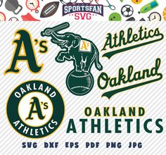 Oakland Athletics svg pack- baseball team, baseball league, baseball cut files collection vector clipart digital download png, jpg, eps, dxf by SportsFanSVG on Etsy