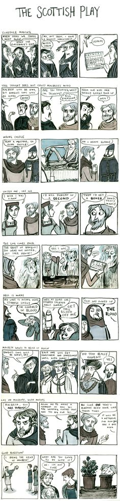 Shakespeare comic-- cant say the name of the scottish play British Literature, English Literature, Classic Literature, Shakespeare Macbeth, Shakespeare Funny, The Scottish Play, Bulletins, English Classroom, Fun Comics