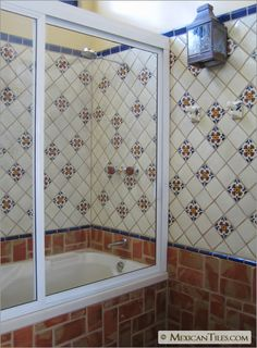 MexicanTiles.com - Bathroom Shower Wall with Seville Talavera Mexican Tile