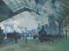 Premium Giclee Print: Arrival of the Normandy Train, Gare Saint-Lazare, 1877 by Claude Monet : Claude Monet, Monet Paintings, Impressionist Paintings, Train Art, Chicago Art, Carl Larsson, Art Institute Of Chicago, Wassily Kandinsky, Gustav Klimt