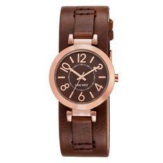 Nayley Leather Cuff Watch | Brown Metal | Menswear Inspired | Nine West