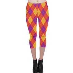 Plaid pattern Capri Leggings
