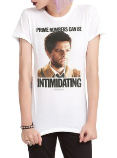 "Fitted white tee from Supernatural with a Castiel design that reads ""Prime Numbers Can Be Intimidating."" Perfect"
