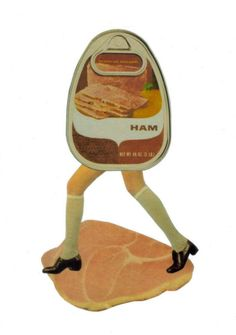 Paper Collage Art Print Ham and Legs Funny Food