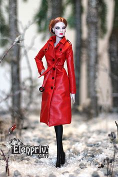 elenpriv 014Red leather classic trench coat Fashion royalty FR2 Color Infusion in Dolls & Bears, Dolls, By Brand, Company, Character | eBay