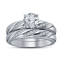 Amazing !!14K White Gold Finish D/VVS1 Diamond Women's Bridal Ring Set 1.68 CT…