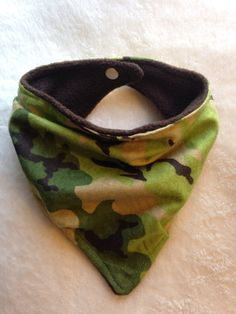Camo Bandana Bib for Baby & Toddler Scarf Bib Camouflage Bibdana Just $6 handmade at www.peaceloveandbabyshop.etsy.com