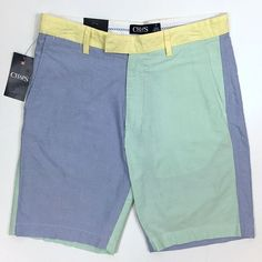 Chaps Oxford Cloth Color Block Shorts Sz 32 Blue Green Yellow Preppy Flat Front #Chaps #CasualShorts