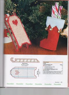 I like the bells on the stocking. Add them to a cuter stocking pattern. Plastic Canvas Books, Plastic Canvas Ornaments, Plastic Canvas Crafts, Plastic Canvas Patterns, Christmas Tree Ornaments, Christmas Coasters, Plastic Canvas Christmas, Canvas Designs, Yarn Crafts