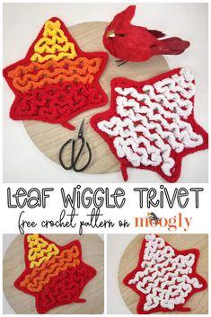 Crochet Trivet Patterns, Crochet Patterns For Beginners, Crochet Motif, Crochet Designs, Crochet Basics, Knitting Patterns, Crochet Leaves, Crochet Fall, Diy Crochet