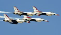 Four U.S. Air Force Thunderbird F-16 Fighting Falcons fly by on Luke Air Force Base, Arizona. Sweet.