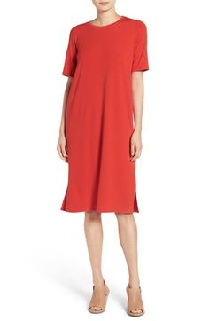 Free shipping and returns on Eileen Fisher Midi Shift Dress (Regular & Petite) at Nordstrom.com. Simply styled with a crewneck and side-slit hem, a short-sleeve shift drapes the figure in a slim column of soft, supple jersey.