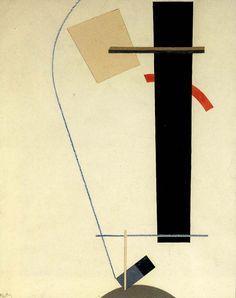 El Lissitzky, Proun, ca. 1923 작품의 윗부분과 아랫부분이 일단 크기적으로 대비감을 주고 있고 얇은 선을 이용해 상단과 하단부를 연결짓고 있기때문에 긴장감이 느껴진다. 이 작품을 입체조형물로 만든다면 불안정함 속에서 흥미를 느낄 수 있는 결과물이 나올 것 같다.