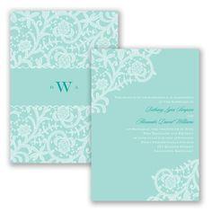 Ebullient Lace - Aqua - Wedding Invitation