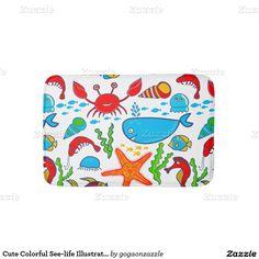 Cute Colorful See-life Illustration Pattern Bathroom Mat