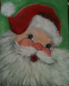 Hand painted SANTA on Stretched Canvas 11 x by robinsnestgallery2, $40.00