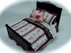 Dolls House Luxury Dressed Double Bed  by LittleHouseAtPriory