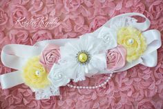 Maternity Sash - Vintage Inspired Baby Girl Pink Yellow Lace Pearls