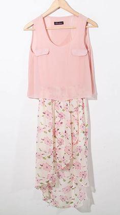 Pink Floral High-low Sleeveless Round Neck Chiffon Dress - Sheinside.com