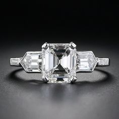 Side Stone Heaven: Art Deco 1.71 Carat Emerald Cut Diamond Engagement Ring