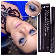 Maquiagem da blogueira @dicasdanisa usando o delineador Liquid Black Liner que ela comprou na NYX de Fortaleza