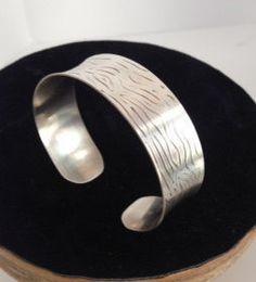 Handmade Patterned Sterling Silver Cuff Bracelet by MeAndMyMansJewelry on Etsy