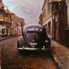 Split Street, oil on panel, Santiago Michalek, VW painting, Volkswagen painting, bug painiting, split bug, oil painting