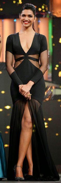 Deepika Padukon #Bollywood Celebrity in Black Dress