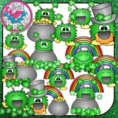 Make your St Patrick's Day teaching resources and classroom decorations fun and happy with these excited little holiday monsters! They are so excited for St Patrick's Day, complete with rainbows, pots of gold, and shamrocks!   There are 13 different monster color images and 13 black line versions, so 26 graphics are included! All graphics are 300 DPI PNG files with transparent backgrounds!
