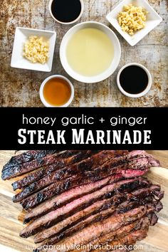 This Honey Garlic and Ginger Steak Marinade is a delicious and easy marinade recipethat will make your steaks flavourful and tender! This marinade is especially great for inexpensive cuts of steak Garlic Steak Marinade Recipe, Steak Tip Marinade, Teriyaki Steak, Steak Tips, Steak Recipes, Cooking Recipes, Steaks, Food Hacks, Honey