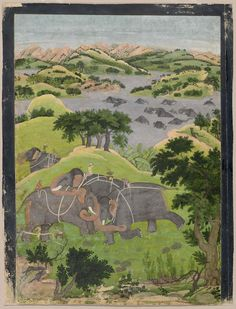 Capture of a Wild Elephant | Museum of Fine Arts, Boston | Indian, Pahari | about 1775–80 | Attributed to The Family of Nainsukh Object Place, Guler or Kangra, Punjab Hills, Northern Indi