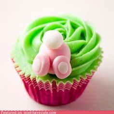 bunny butt cupcake ... cute but I would make the actual top of the cupcake look like grass