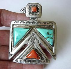 OLD NAVAJO THUNDERBIRD TURQUOISE CORAL Sterling Silver BOLO Stamped Designs