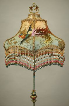 Chinoiserie Lampshade with Antique Textiles