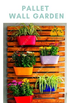 Wall Garden with a pallet frame. Hanging Planters with Flowers. Its a nice way to green up your empty walls Dog Garden, Backyard Garden Design, Terrace Garden, Garden Tips, Garden Ideas, Pallet Ideas, Pallet Projects, Garden Projects, Pallet Garden Walls