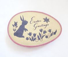 vintage Easter greetings egg shaped candy chocolate