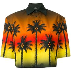 Marcelo Burlon County Of Milan cropped palm tree shirt ($640) ❤ liked on Polyvore featuring tops, multicolour, orange crop top, orange striped shirts, collared crop top, short sleeve shirts and striped crop top