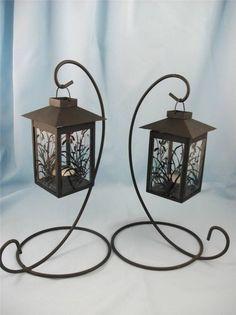 Bulk Buy 2 x Chinese Lantern Metal & Glass Single Candle holder 30cm tall D0954B
