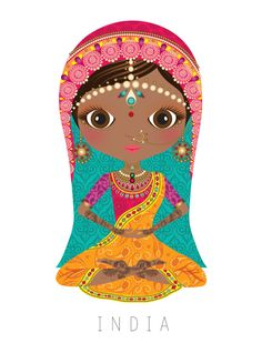 India Travel Doll ~ by Veronica Alvarez Arno Stern, Illustrations, Illustration Art, India Art, Thinking Day, We Are The World, World Cultures, Folklore, Paper Dolls