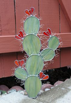 Cactus Garden Sculpture in Stained Glass by PlateFlowersPlus