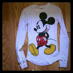 Disney long sleeve shirt Walt Disney white with mickey mouse print on shirt,long jon material.clean no rips or holes will wash before i ship disney Tops Tees - Long Sleeve