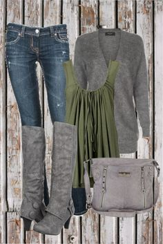 Olive green and grey. Drapey/swoopy. Love the grey boots.