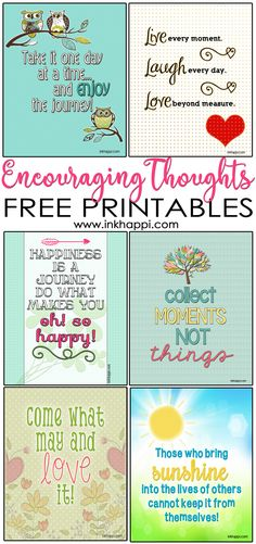 Several encouraging thoughts and  free printables/ Great fpr goal setting or self improvement!