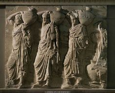 Procession of Water Carriers (Parthenon, north frieze, block VIII, scenes B. Ancient Greek Art, Ancient Greece, Ancient Architecture, Art And Architecture, Greece Art, Athens Greece, Oriental, Famous Sculptures, Greek Gods And Goddesses