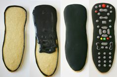 Father's Day Remote Control Cookies   You don't have that cookie cutter? Just put the actual remote in copier/printer. Then cut it out, put it on cookie dough & cut out with a small knife. You can use this method to make just about any shape of cookie you can imagine. 1. Outline  2. Fill  3. Let dry  4. Make your buttons by looking over at your remote. To decorate the buttons,  use edible markers with a fine tip. They write on (dried) royal icing, really well!